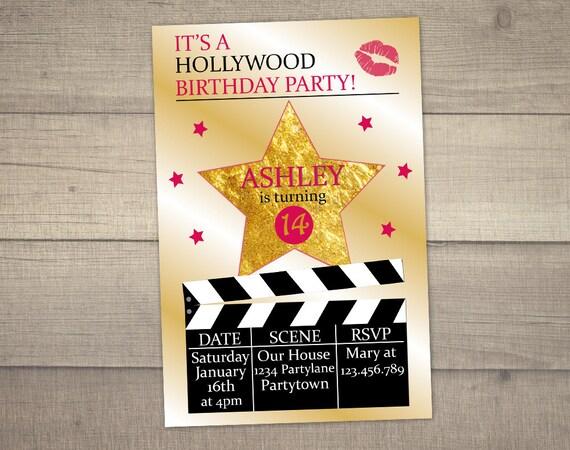 Zaproszenie Urodziny Hollywood Hollywood Party Zaproszenie Etsy