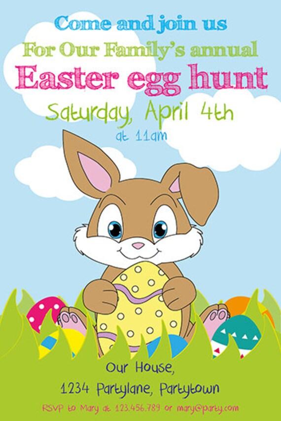 Easter Invitation Egg Hunt Invitation Easter Brunch Invitation Bunny Invitation Easter Bunny Invite Digital File Printable