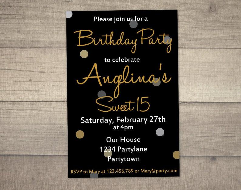 15th Birthday Invitation Sweet 15 Black