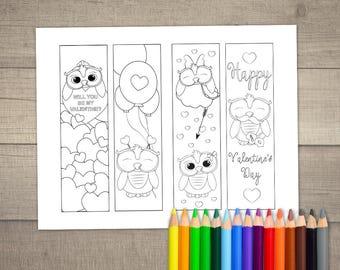 Valentine's Day Coloring Bookmarks, Valentine's Day Bookmarks, Printable Bookmarks Valentine, Valentines Bookmarks - 4 designs digital File