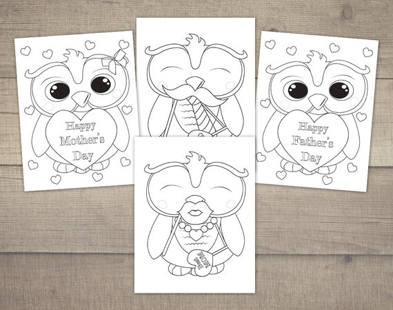 Mother S Day Coloring Pages Father S Day Coloring Mothers Day Coloring Printable Coloring Pages Owl Coloring 4designs Digital File
