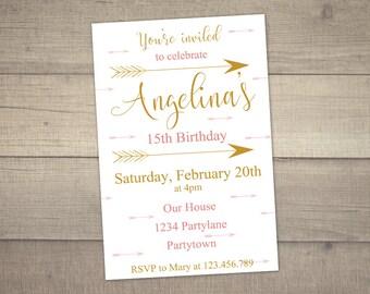 14th Birthday Invitation, Arrow Invitation, Teen Birthday Invitation, 15th Birthday Invitation, -digital file.With FREE Thank You card
