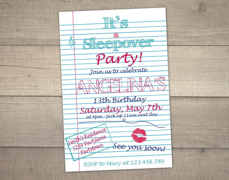 Sleepover Invitation Slumber Party Teen