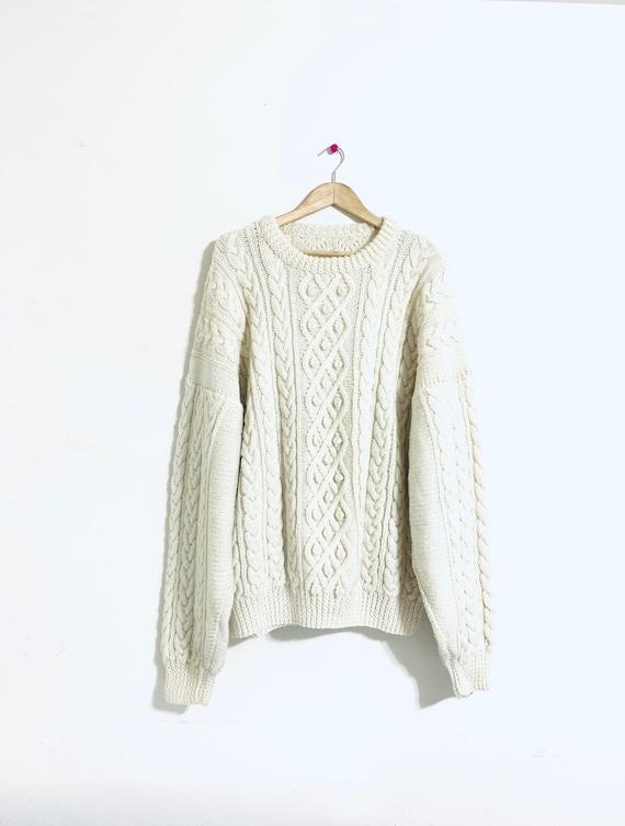 Oversized fisherman sweater. Cream wool, pom Pom s