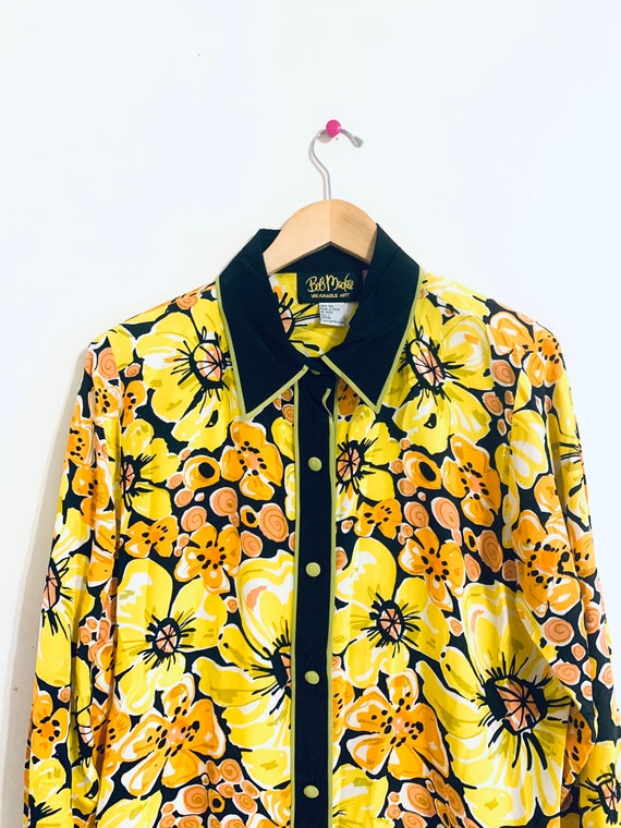 70's oversized 100% silk blouse. Yellow Watercolor