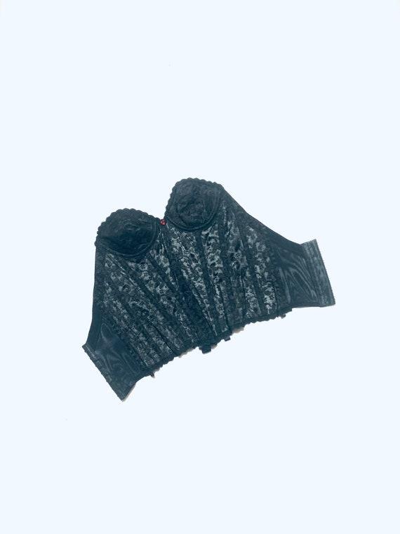 Vintage black bustier/ brassiere. boned lace corse