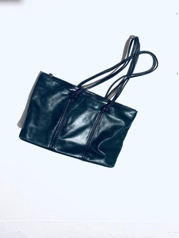 Minimalist large black leather multipurpose tote … - image 4