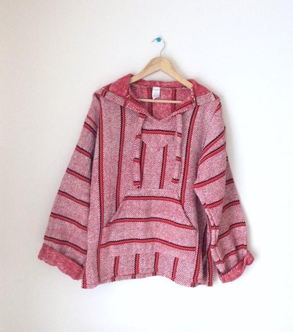 Vintage Mexican Baja hoodie. Red stripped hoodie.