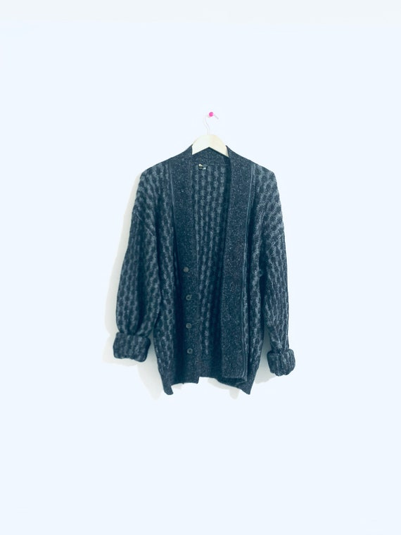 Wool and leather grey cardigan. Breco's Speckled b