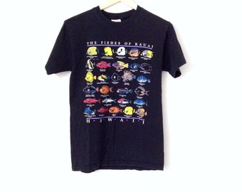 90's graphic tees. Fishes of Kauai Faded black cotton t-shirt.