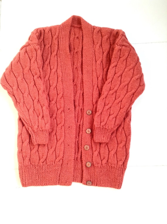 Vintage rust colored, super chunky knit cardigan.
