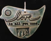 "Bird Wall Decoration, Valentine Bird Ornament, ""All you Need is Love""."