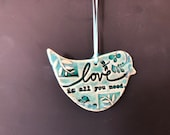 Ceramic Bird Ornament, Nature Inspired Gift, Get Well Ornament, Pottery Ornament.