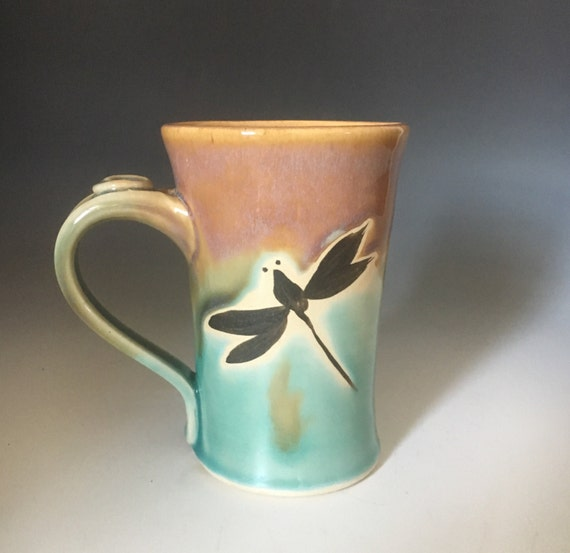 Pottery Dragonfly Coffee Cup Teal Turquoise Handmade Pottery Etsy