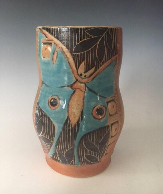 Handmade Pottery Vase Luna Moth Vase Handmade Ceramic Vase Etsy