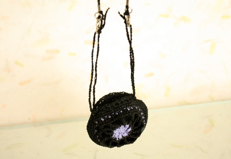 crochet necklace Crochet Drawstring Jewelry Holder for fitness TRX keeper for jewelry sports ring holder tiny bag black and lilac GYM