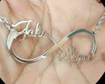 Infinity Symbol  Necklace - Two Names Infinity Pendant - Infinity Charm - Mother Day Gift - Infinity With 2 Names - Infinity Custom Symbol