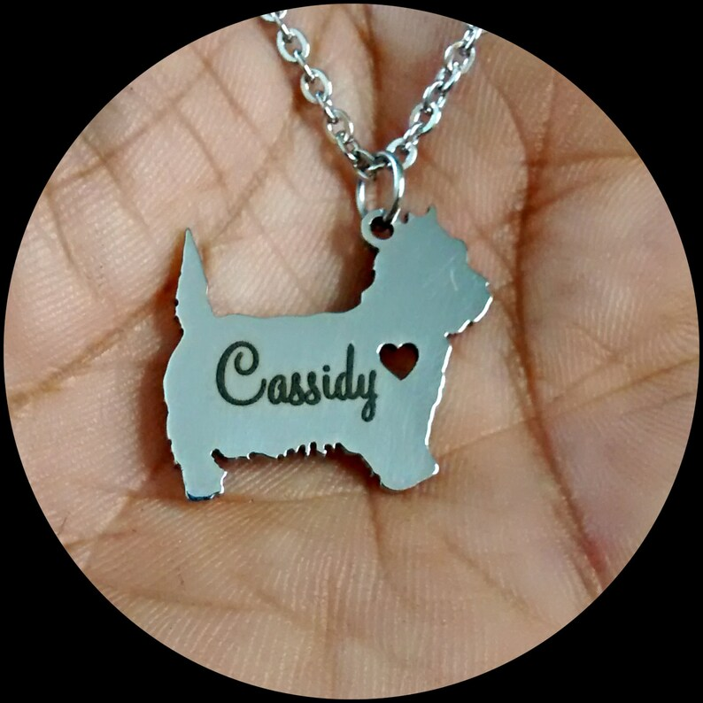 Cairn Terrier Necklace Custom Made Stainless Steel iHeart Dog Personalized Necklace.Engraving.Stainless Steel