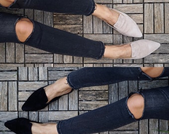 Suede leather mules, slippers ,greek leather shoes,beige,black