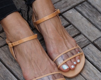 4e46794e130c82 Natural Color Real Leather Sandals with Clear strap  Greek Sandals