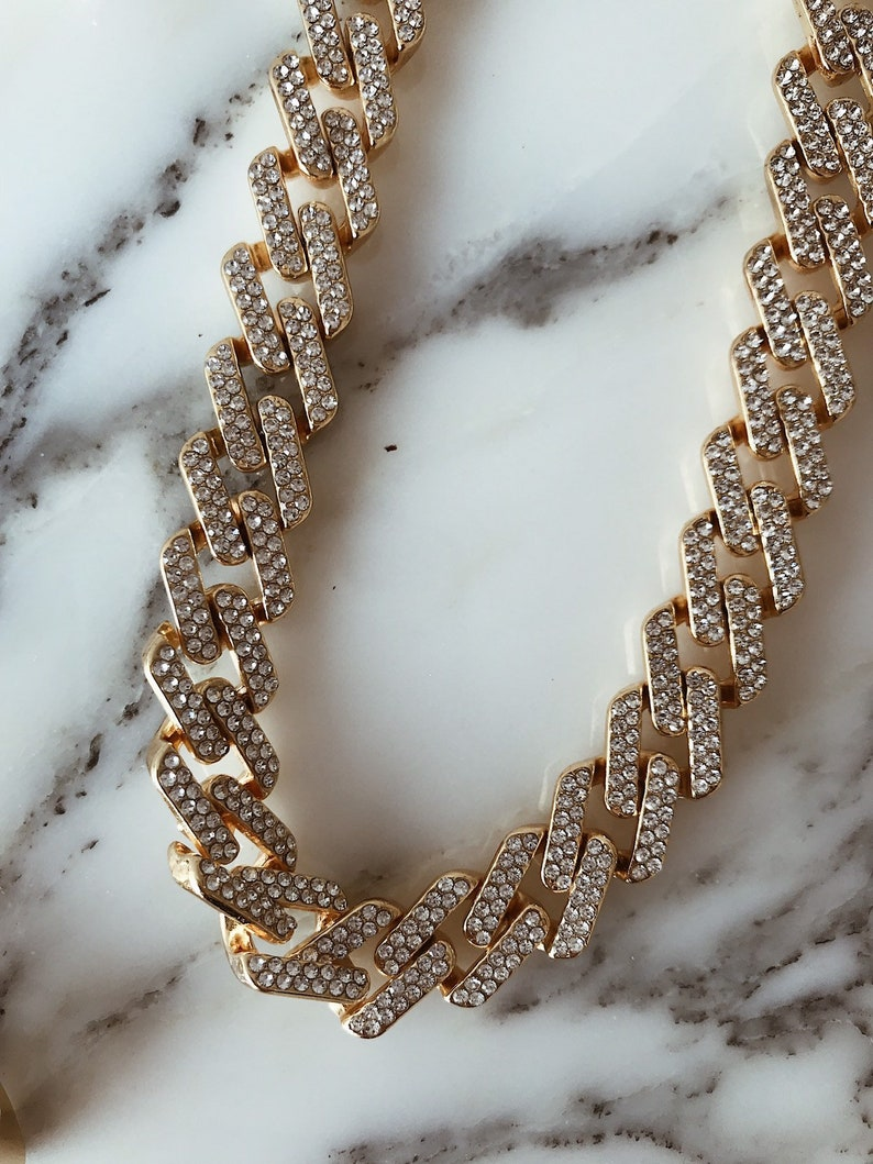 gift for her Chunky chain necklace Crystal chain retro chain