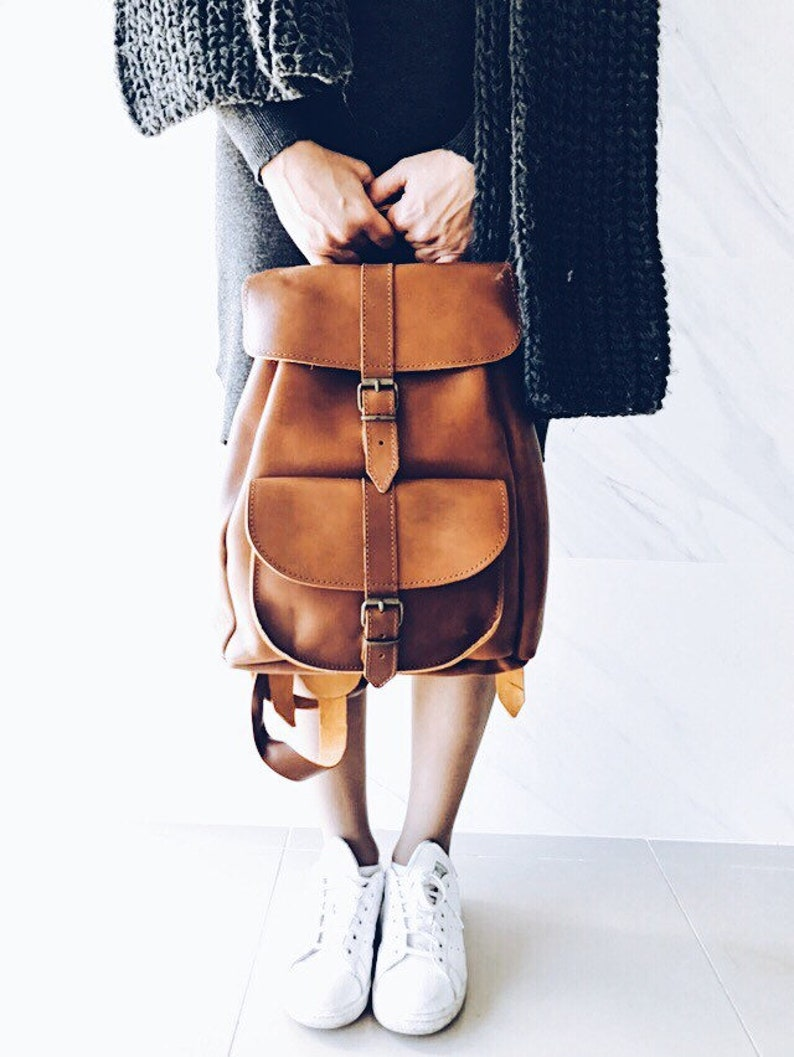 Cognac Brown Real Leather Backpack Real Leather Racksack image 0