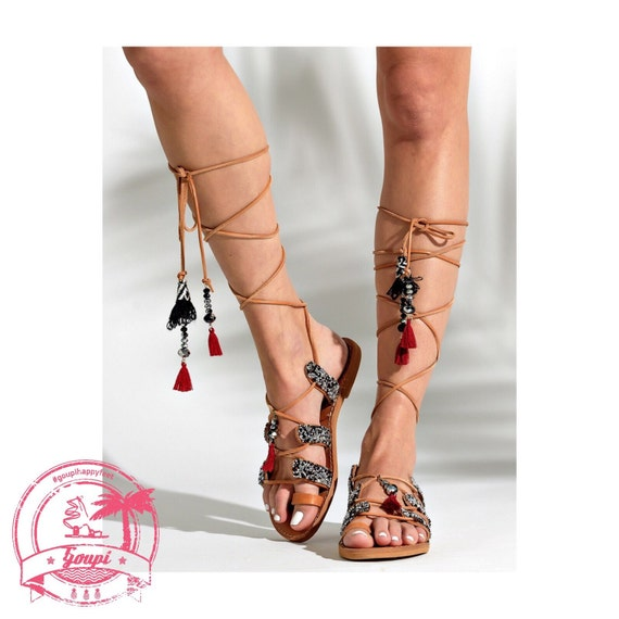 f7007fa929571f Tie up leather sandals Crystalia greek leather