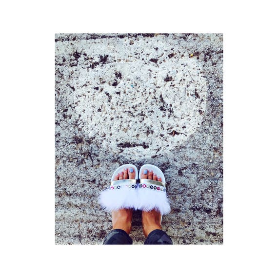 gold slipper feather summer white shoes platform Metallic white slide pools boho aqWRBffU