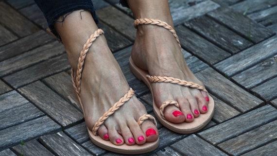 Sandales en cuir grec Eileen, tresse sangles sandale, antique grec Sandals