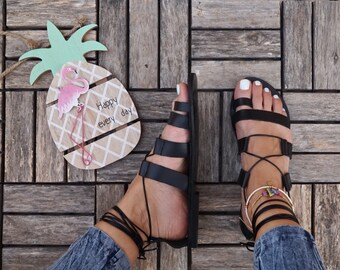 Sandales gladiateur en cuir, sandales grecques antiques, «Amazona» sandales, sandales à lanières fait à la main