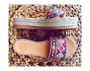 Sandales en cuir fait à la main, artisanales sandales, sandales en cuir grec, «Tabitha» flatforms, boho sandales