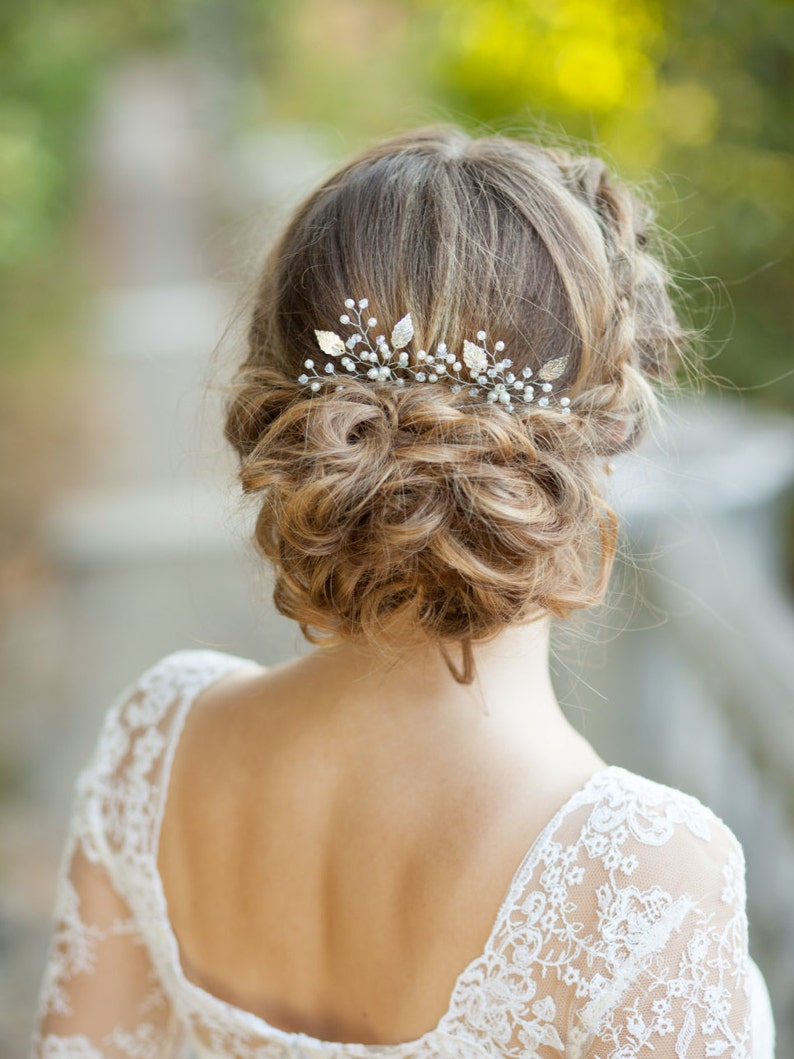 Bridal hair pins Wedding hair pins Silver bridal leaf hair image 0
