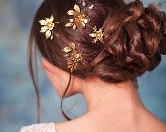 Gold flower hair pins Leaf gold hair pins Floral hair pins Gold bridal hair pins Gold headpiece  Bridal headpiece Gold flower hair clips