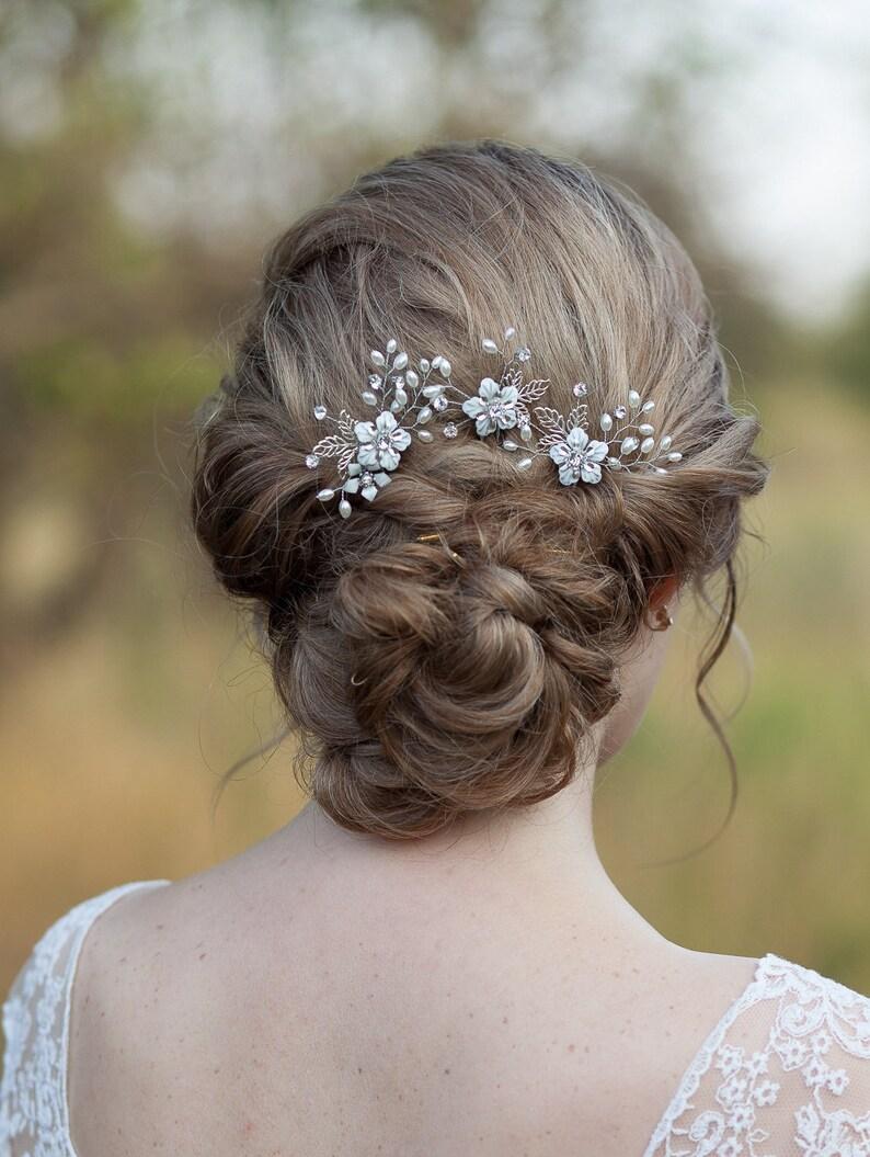 02ef88acb9852f Szpilki do włosów kwiat ustawić liść Suknie ślubne szpilki | Etsy