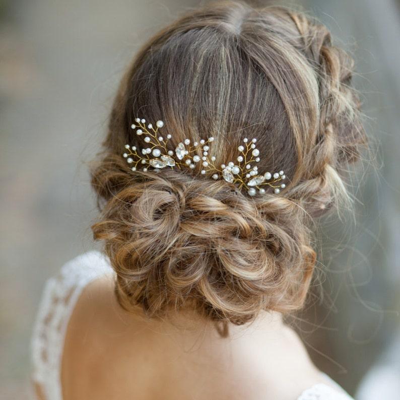 Bridal hair pins Wedding hair pins Pearl hair pins with image 1