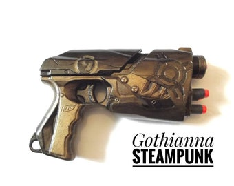 Steampunk Gun Nerf mod customised by hand fully working hand gun weapon with 4 bullets darts cosplay LARP toy gun replica gun weapon
