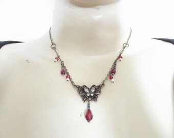 Steampunk Gothic Bohemian style beautiful brass and red coloured necklace with butterfly pendant Handmade in UK Great Gift FREE P&P.
