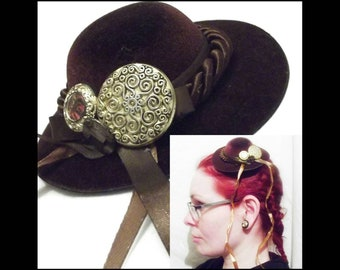 Steampunk vintage style mini hat hair clip fascinator: Brown mini hat with gold ornate buttons and ribbons, handmade in uk, FREE P&P uk