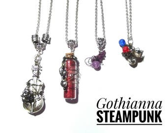 Gothic Geek mixed media necklaces, 4 designs, violin necklace, red love heart vial necklace, amethyst purple necklace, beaded charm necklace
