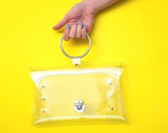 Clear wristlet bag for nfl match, luxury bag,metal ring handle handbag,premium nfl bag, stadium wristlet clutch,vegan minimalist clutch OOAK