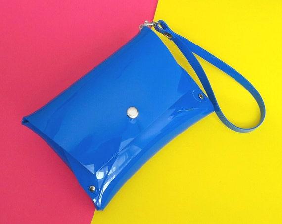 Blue wristlet vegan clutch bag, blue party bag, vegan minimalist clutch, simple blue bag, transparent small purse, 90s bag, plastic bag