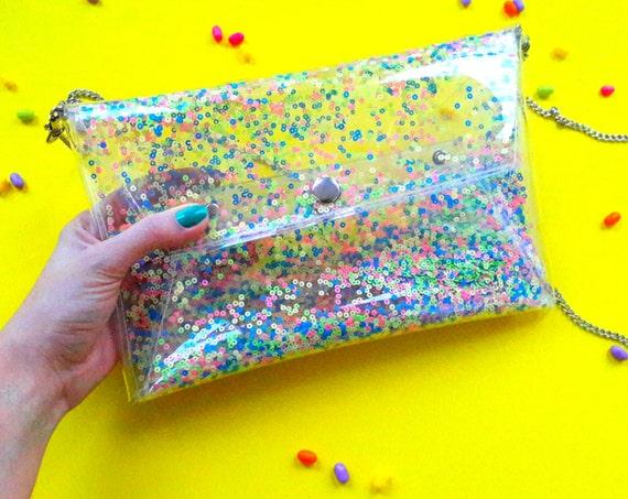 Sequins pastel bag, pastel goth bag, cute clutch bag, Kawaii harajuku handbag, soft grunge pastel bag, clear jelly envelope bag, unicorn bag