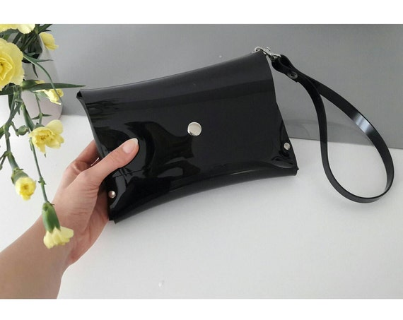 Minimalist black wristlet bag, black vegan bag, black minimalist clutch, plastic bag, black glossy clutch bag, timeless party bag, vinyl bag
