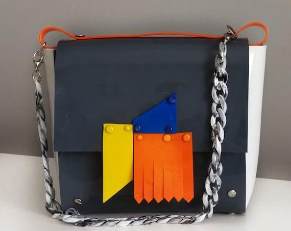 Uniqe design handbag inspired by art of abstract, bag for art lover, purse for art girl, only of a kind bag, geometric basic colors handbag