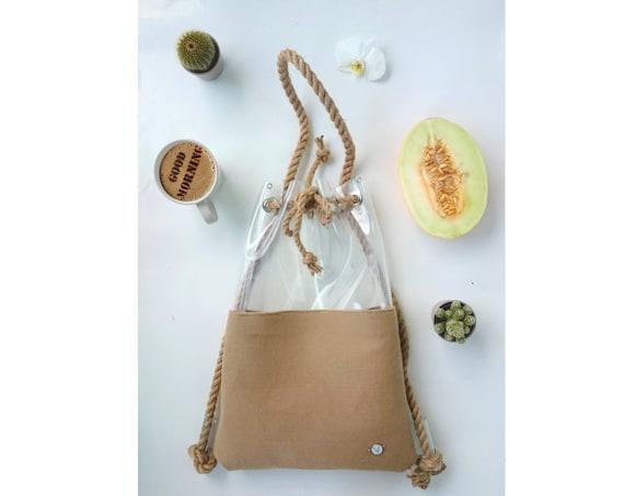 Rope bag, nude backpack, Bucket Bag, Tote Bag, felt backpack, nude hobo Bag, Felt Tote, back to school, Ecofriendly bag, festival bag, 2in1