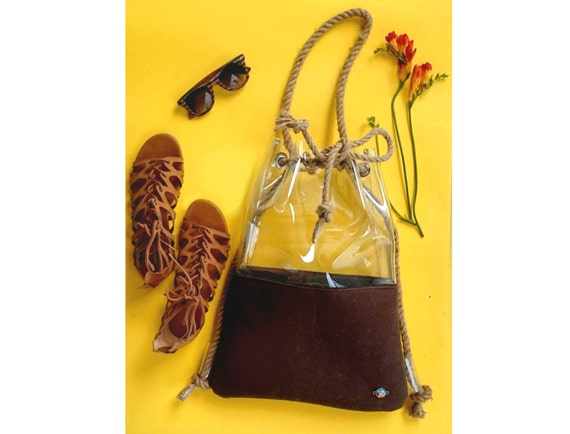 Travel bag,Brown Bucket Bag,brown rucksack,Drawstring Bucket Bag,Felted bag felt backpack, Felt Tote brown backpack, Shoulder bag,vegan bag