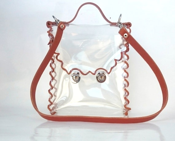 Crossbody bag Genuine Leather Strap Clear See Through Plastic PVC Vinyl Transparent Bag, country style woven TSA NFL Security rustic Bag