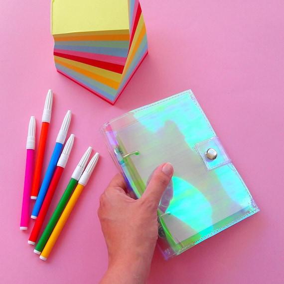 Holographic binder notebook for kawaii girls, vegan iridescent sketchbook, mermaid notebook, unique journal, siren binder, back to school