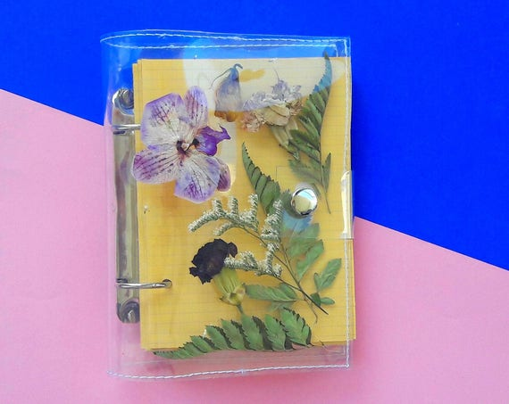 Vegan diary with pressed flowers, unique travel journal, dried flowers back to school binder, handmade small notebook, botanical sketchbook