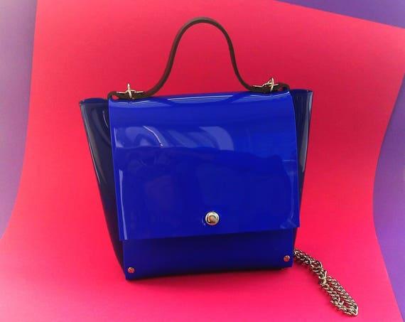 Blue pvc bag, glossy PVC crossbody, standout design messenger, blue vinyl shoulder purse, minimal blue medium satchel, unique woman handbag